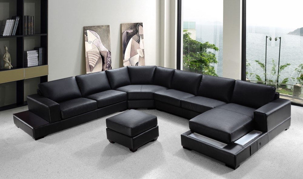 Ritz – Modern Black Leather Sectional Sofa Set