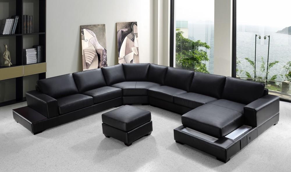 Ritz Modern Black Leather Sectional Sofa Set Black